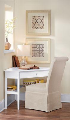 Cute little corner desk. HomeDecorators.com #StoreEverthing