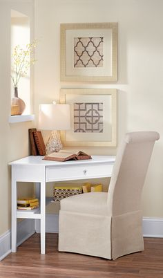 Cute little corner desk. HomeDecorators.com #StoreEverthing