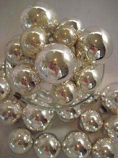 Silver mercury glass Christmas ornaments.