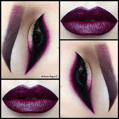 """Dramatic Winged Liner  Lips - @five11_cosmetics """"Dark Berry"""" Lipstick with MAC """"Currant"""" Lip Liner. Eyes - @nyxcosmetics Infinite Shadow Stick in """"Blackout,"""" Black Gel & Liquid Liner. """"Currant"""" Lip Liner, & """"Magenta Madness"""" Pigment by MAC. MUFE Eyeshadow #164. All @kizmet brushes used."""