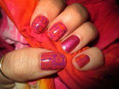 Pink lava & rasberry sparkle nails http://wrapmynails2.jamberrynails.net/