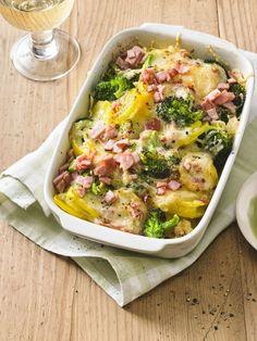 Brokkoli-Kartoffel-Gratin mit Schinken