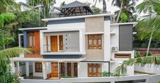 3200 Square Feet 4 Bedroom Contemporary Style Two Floor Modern House and Plan - Home Pictures :: Easy Tips Wall Exterior, Dream House Exterior, Contemporary House Plans, Contemporary Style, Modern, Brick Cladding, Kerala House Design, Kerala Houses, High Walls
