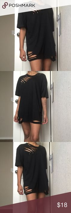 BLACK FRIDAY  Distressed T-Shirt Mini Dress Men's xL but is the same length as a medium -- distressed and ready for shipping!  Not LF -- I'm 5'2 for reference! ✨ LF Dresses Mini