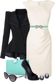 "Summer in the office - ""Black, White, & Tiffany Blue"" by stylesdice on Polyvore"