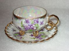 Vintage Footed Tea Cup with Saucer   Royal Sealy China