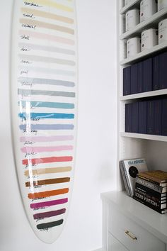 Paint swatch surfboard at Serena & Lily Design Shop. #serenaandlily