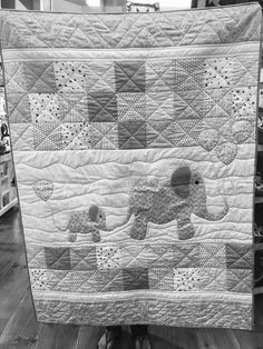 Made for a couple as a gift . Only wanted gray& white. It has #balloon appliqué#modernbadyquilt #babyquilt #gray and white baby quilt #gray elephant #appliqué elephant