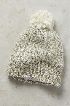 Designer Clothes, Shoes & Bags for Women Pom Pom Beanie Hat, Beanie Hats, White Beanies, Metallic Thread, Dress Me Up, Autumn Fashion, Women's Fashion, Anthropologie, Hair Accessories