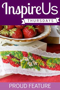 Inspire Us Thursday, July 17! This week's feature: a gorgeous cross-stitch strawberry bookmark by FranceNadeau.