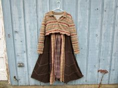 S-M Fair Isle Plaid Corduroy Prairie Sweater Dress// Reconstructed// Altered Clothing// Upcycled// emmevielle