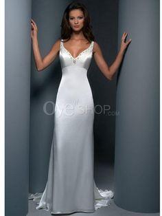 bridal sheath dress | Home > Wedding Apparel > Beach Wedding Dresses > Sheath Column V neck ...