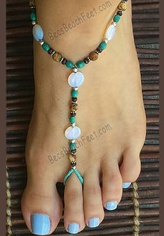 barefoot sandals is crafted with opalite coin beads with picture jasper, wood and silver plated beads.