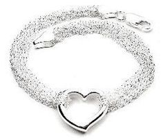 """Sterling Silver Multi Strand Chain and Open Heart Bracelet - 7.5"""" Silver Insanity. $24.98. Weight is About 5.5 Grams. Marked 925. Lobster Claw Clasp. Nickel Free Silver. 7.5"""" Long (Heart is 5/8"""" x 5/8"""")"""