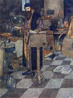 Prospero in Secret Studies - from The Tempest by Edmund Dulac. Art Nouveau (Modern). illustration