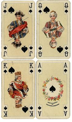 Wings of Whimsy: Antique French Playing Cards - Spades - free for personal use #ephemera #printable #vintage