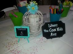 Wedding Kids Table sign and Decor. Cool kids.  Tiffany blue and lime. Birdcage.
