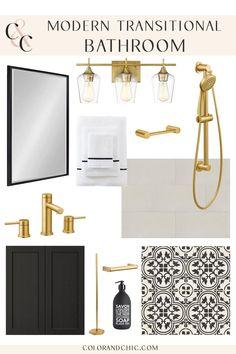 Transitional Bathroom, Transitional House, Bathroom Design Inspiration, Bathroom Inspo, Modern Bathtub, Black Kitchen Cabinets, Interior Design Boards, Solid Wood Dining Table, House Colors