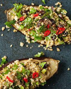 Freekeh Stuffed Eggplant with Fresh Herbs & Olives