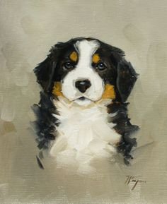 Original Oil painting of a bernese mountain dog by johnspaintings, $45.00