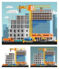 Construction And City Compositions Set