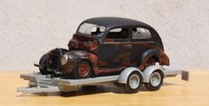 AMT '40 FORD TUDOR & TRAILER DIAMOND IN THE ROUGH BUILT 1/25 SCALE #AMT