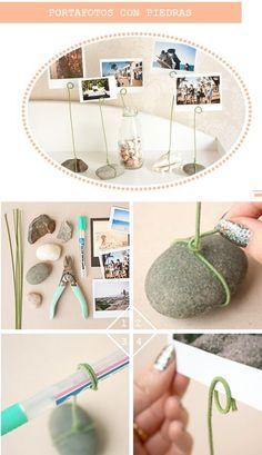 DIY rock & wire photo holders