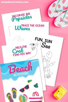 FREE Printable Beach Activity Pack for the Kids #freeprintables #activitypages #boredombuster #summerfun Beach Activities, Free Activities, Creative Activities, Craft Activities For Kids, Craft Projects For Kids, Kids Crafts, Diy Projects, Craft Ideas, Free Kids Coloring Pages