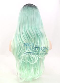 """24"""" Long Wavy Black Mixed Light Green Ombre Lace Front Synthetic Hair"""