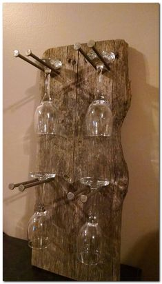 Rustic Glass Wine Rack by RinehimerWoodworking on Etsy # .- Rustikales Glas Weinregal von RinehimerWoodworking on Etsy Rustic glass wine rack by RinehimerWoodworking on Etsy - Home Bar Furniture, Rustic Furniture, Furniture Ideas, Garden Furniture, Furniture Makeover, Bedroom Furniture, Furniture Websites, Inexpensive Furniture, Furniture Online
