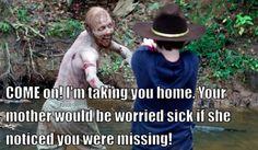 BAHAHAHAHAHA!  Too bad she doesn't notice him BEFORE he goes missing!