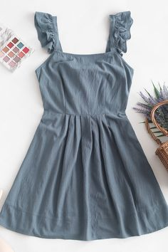 Cute Gray Ruffled Sundress Style: Fashion Occasion: Casual Day Material: Cotton Silhouette: A-Line Dresses Length: Mini Collar-line: Square Collar Sleeves Length: Sleeveless Girls Fashion Clothes, Teen Fashion Outfits, Girl Outfits, Fashion Dresses, Girl Fashion, Clothes For Women, Style Fashion, Cheap Clothes, 70s Fashion