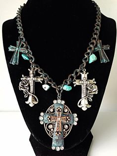 Necklace & Earrings Set Western Patina Cross Rose Turquoise Chain Charm Womens #DaVinci