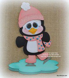 Pingüino en patines Navidad Premade Scrapbooking adorno papel