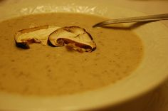 Wild Mushroom Bisque.  Similar to Zupas.  I did make this.  I added the whole pint of cream=1cup.  I would also not just puree 3/4 next time but pulse the last fourth to have small mushroom pieces which I think would be better.  Wish I had a recipe for french fried onions to clone Zupas.  Also get some bread to dip in this soup, heavenly.