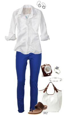 A fashion look from April 2013 featuring banana republic shirts, maison scotch jeans and hardware jewelry. Browse and shop related looks. Royal Blue Jeans, Royal Blue Outfits, Blue Jean Outfits, Casual Outfits, Summer Outfits, Cute Outfits, Fashion Outfits, Blue Pants Outfit, Azul Real