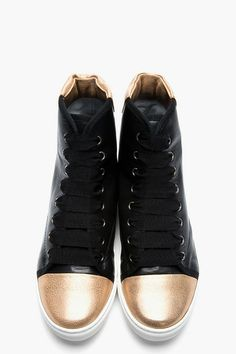 Lanvin Black Leather High-top Gold Toe Sneakers for women | SSENSE ($715.00) - Svpply