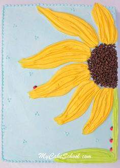 Sunflower Sheetcake tutorial - so cute, right down to the little ladybugs!