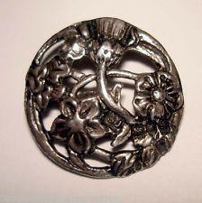 English hallmarked sterling silver Art Nouveau button 1902, SJ