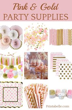 Pink and gold party supplies! Pink and gold party supplies! 1st Birthday Party For Girls, 13th Birthday Parties, Birthday Party Decorations, 16th Birthday, Pink Gold Party, Pink And Gold Birthday Party, Pink Graduation Party, Pink And Gold Decorations, Pink Und Gold