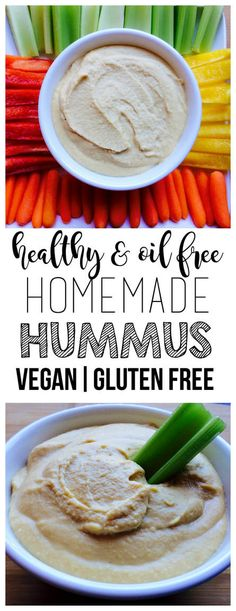 Healthy & Simple Homemade Hummus (Vegan, Gluten-Free, Oil-Free, Low-Fat)