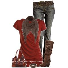 Russet T with Jeans and boots- cute