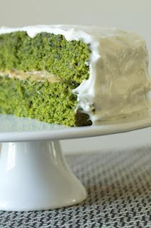 Kale cake with cream cheese icing.  This recipe is vegan but could substitute dairy products for vegan products.