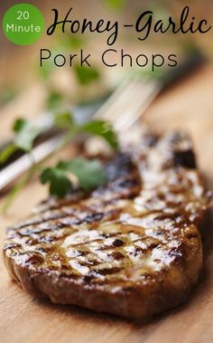 Honey Garlic Pork Chops....4 ingredients, 20 minutes and dinner is served! If you're looking for the perfect boneless pork chops recipe, this is it! via @SparkPeople
