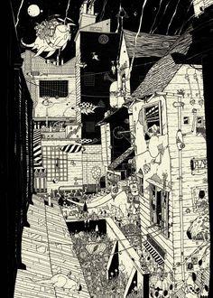 A fine art print entitled The City by Noper! Environment Concept, Great Artists, All Art, Cute Art, Illustration Art, Illustrations, Vibrant Colors, Art Photography, Fine Art Prints