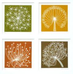 Dandelion 1 (blue) Linocut by Elaine Marshall Stamp Printing, Screen Printing, Lino Art, Linoprint, Silk Painting, Encaustic Painting, Tampons, Linocut Prints, Botanical Illustration