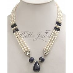 3 Strand Natural Pearl & Blue Sapphire Drop Necklace
