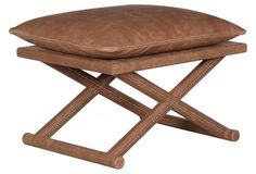 Griz Leather X-Stool, Brown - wallpaper room x2