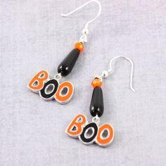 Halloween Earrings Boo Earrings Orange by AbacusBeadCreations, $28.00