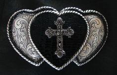 Triple Heart  & Cross Belt Buckle by BuckleXpressions on Etsy